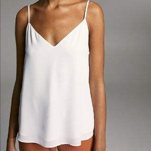 White silk thin strap blouse with pleated detail